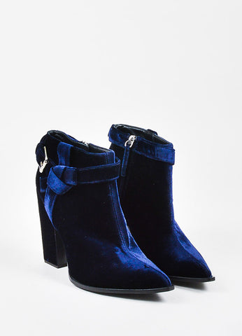 Thakoon Navy Blue Velvet Buckled Pointed Toe Block Heel Ankle Boots Frontview