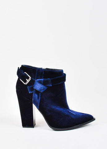Thakoon Navy Blue Velvet Buckled Pointed Toe Block Heel Ankle Boots Sideview