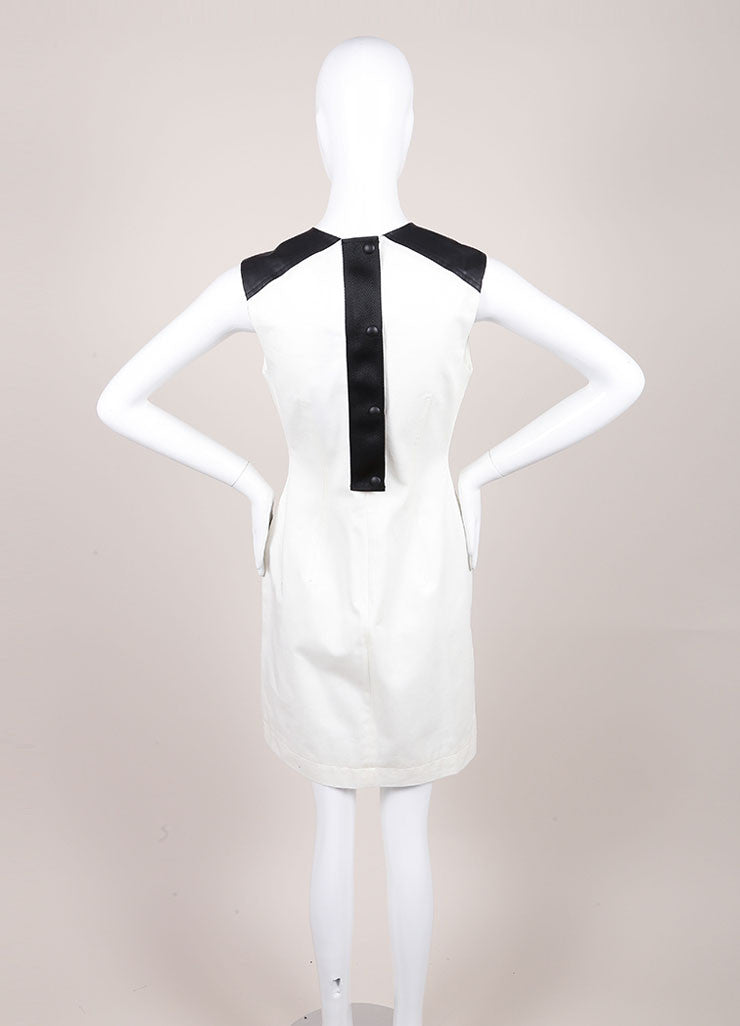 Alexander Wang New With Tags Cream and Black Webbing Detail Coated Cargo Dress Backview
