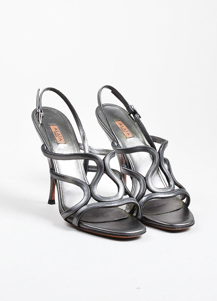Alaia Gunmetal Leather Chain Strappy Slingback Heeled Sandals Frontview