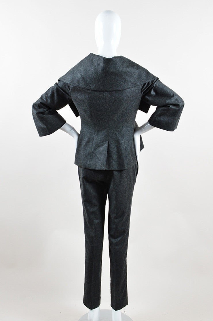 Alexander McQueen Grey Wool and Cashmere Oversized Collar Jacket Pant Suit Backview