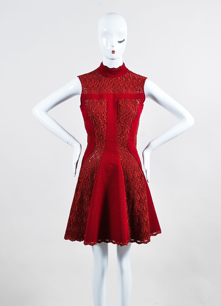 Burgundy Red Alexander McQueen Lace Paneled Fit and Flare Dress Frontview
