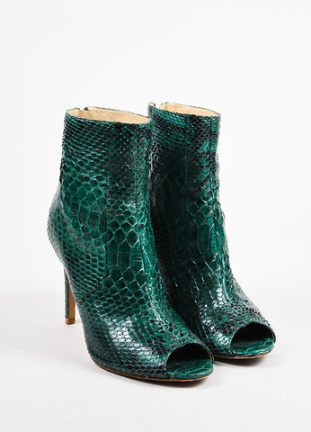 Alexandre Birman Green and Black Python Embossed Leather Peep Toe Booties Frontview