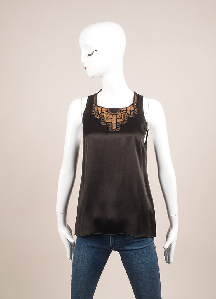 Andrew Gn Black and Bronze Metallic Leather and Bead Trim Sleeveless Top Frontview