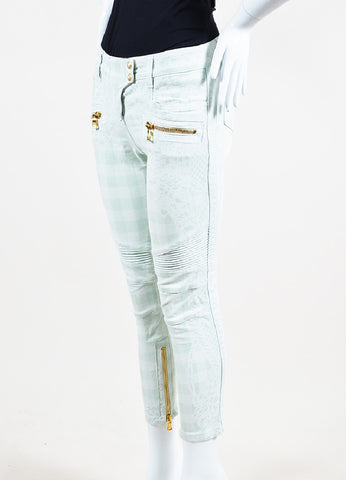 Balmain Mint Green, White, and Gold Toned Zipper Printed Skinny Jeans Sideview