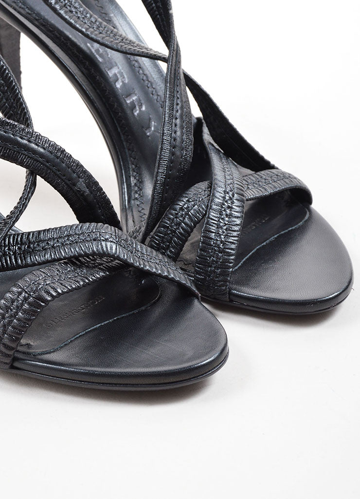 Burberry Black Leather Plisse Strappy Heeled Sandals Detail