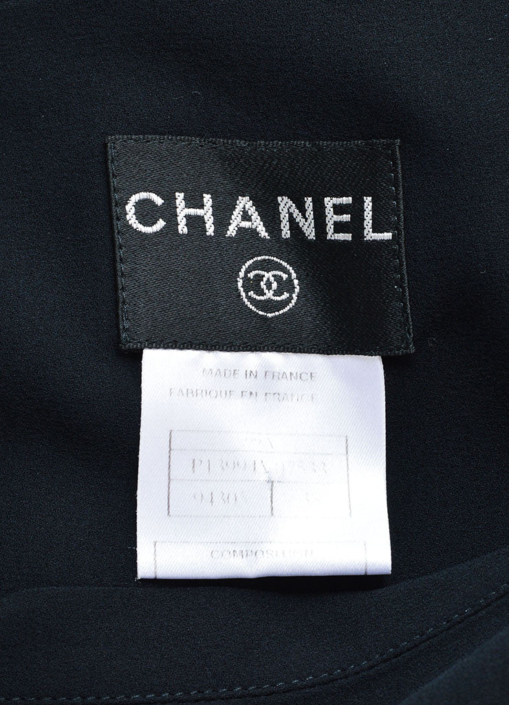 Chanel Black Silk Ruffle Trim Sleeveless Belted Midi Dress Brand