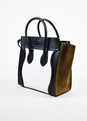 "Celine Brown, Black, and White Calfskin Leather ""Micro Luggage"" Tote Sideview"