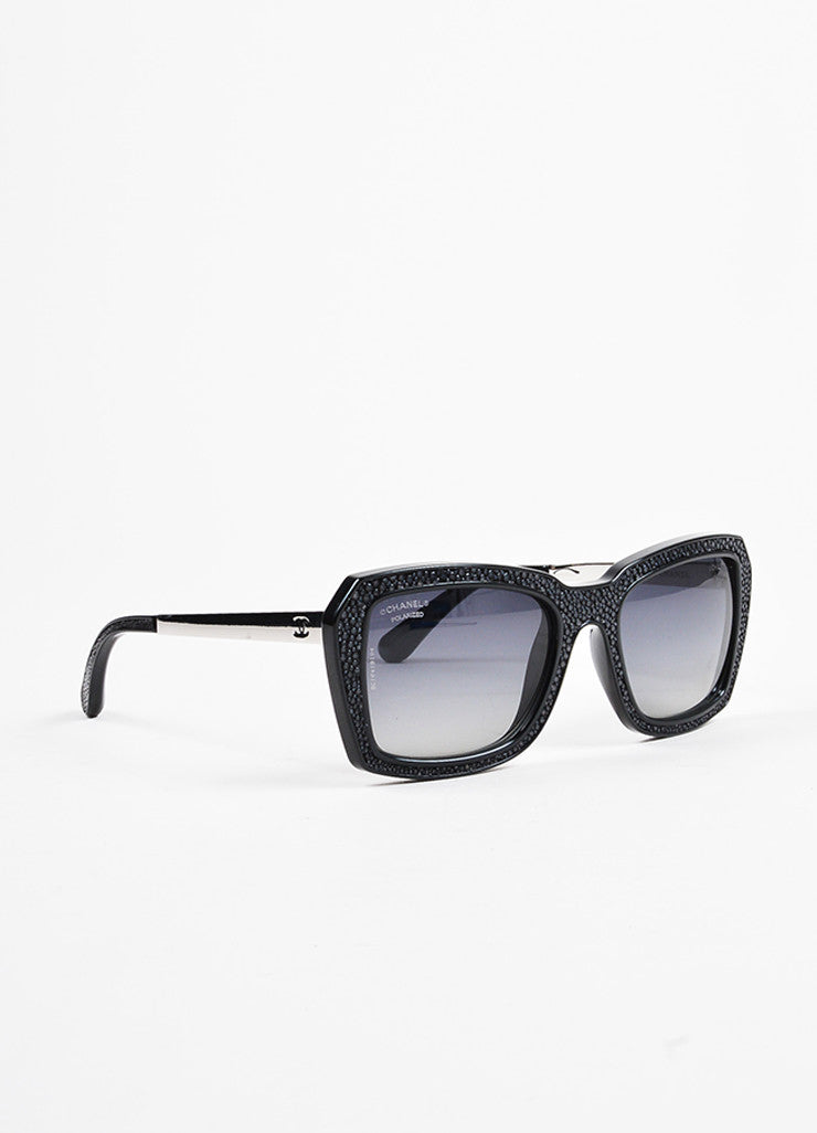 "Chanel Black and Charcoal Silver Toned Pebbled Square Frame ""6047 Q"" Sunglasses Sideview"