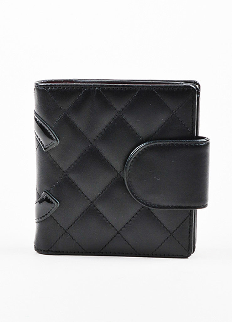 "Chanel Black and Hot Pink Leather 'CC' Quilted ""Ligne Cambon"" Square Wallet Frontview"