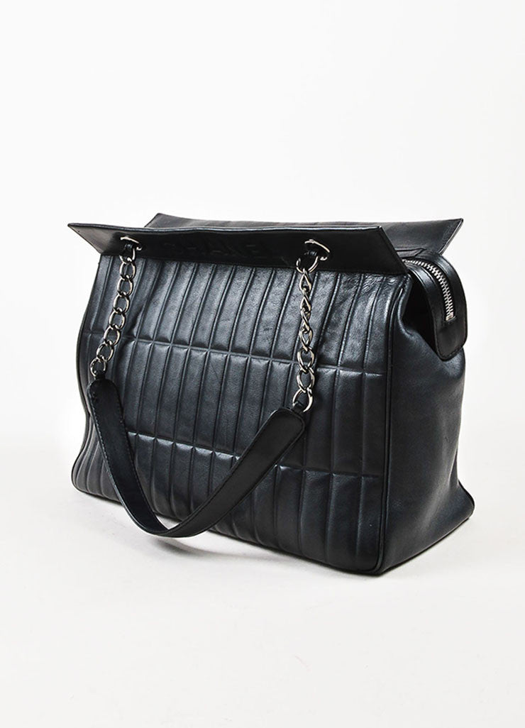 Chanel Black Leather Vertical Quadro Quilted Silver Toned Chain Shoulder Bag Sideview