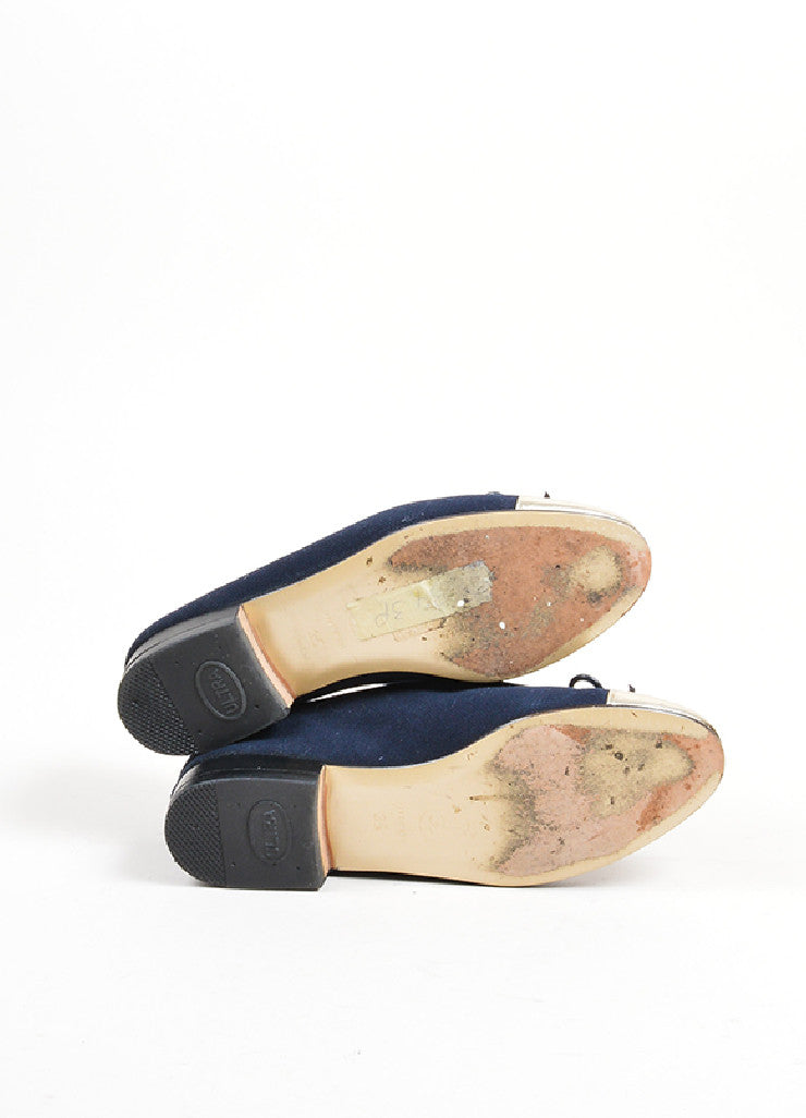 Navy Blue and Silver Chanel Canvas Metallic Leather Cap Toe Ballerina Flats Outsoles