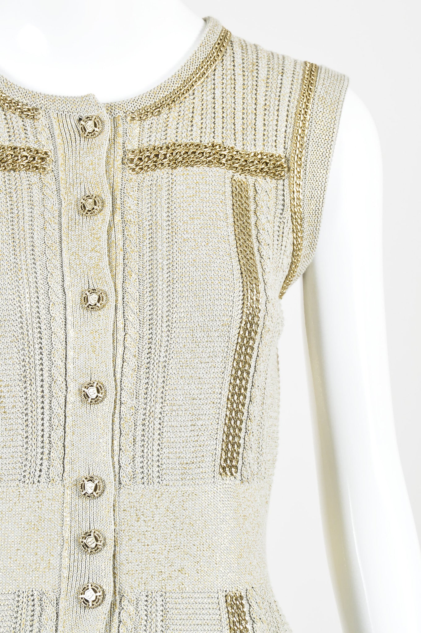 Chanel Taupe Metallic Gold Chain Trim 'CC' Shield Button Sleeveless Cardigan Vest Detail
