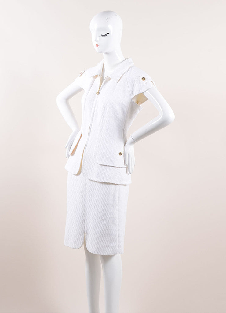 "Chanel White Knit Gold Toned ""CC"" Button Short Sleeve Pencil Skirt Suit Sideview"