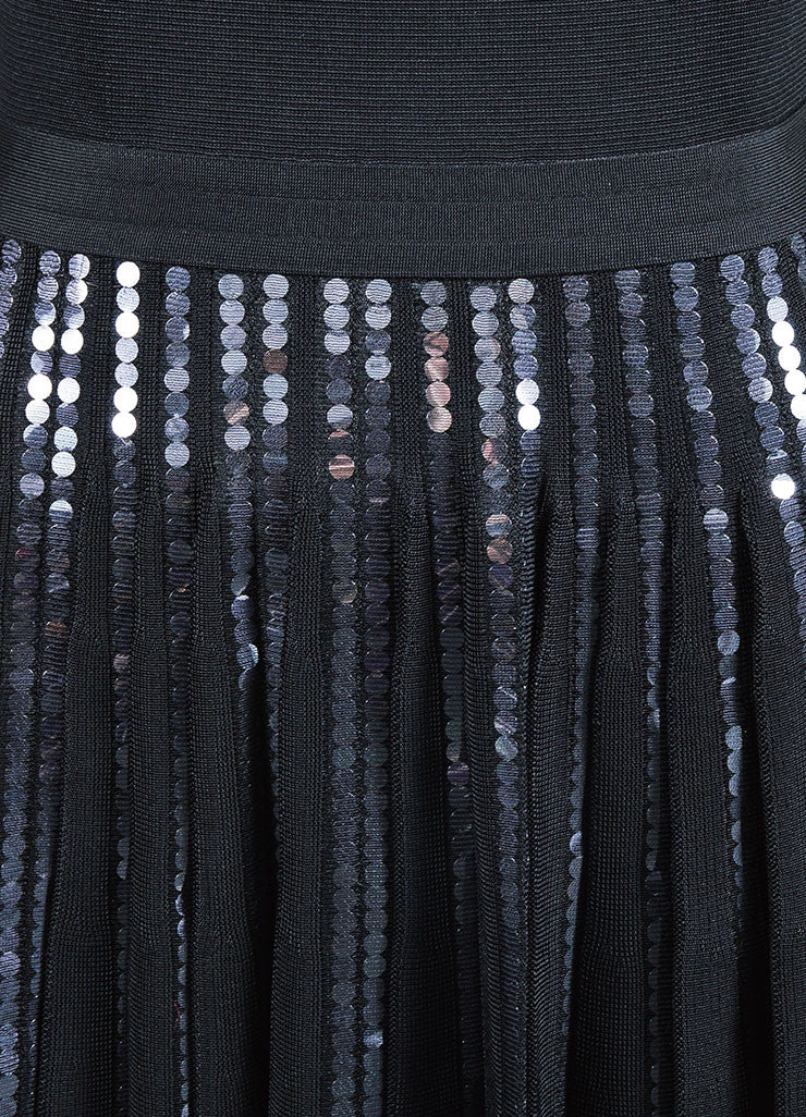 Black Christian Dior Sequin Detail Pleated Short Sleeve Dress Detail
