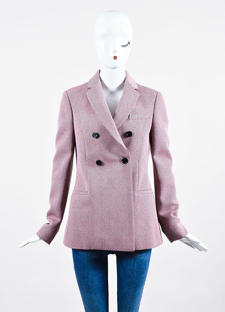 Pink and Multicolor Christian Dior Striped Double Breasted Pea Coat Frontview