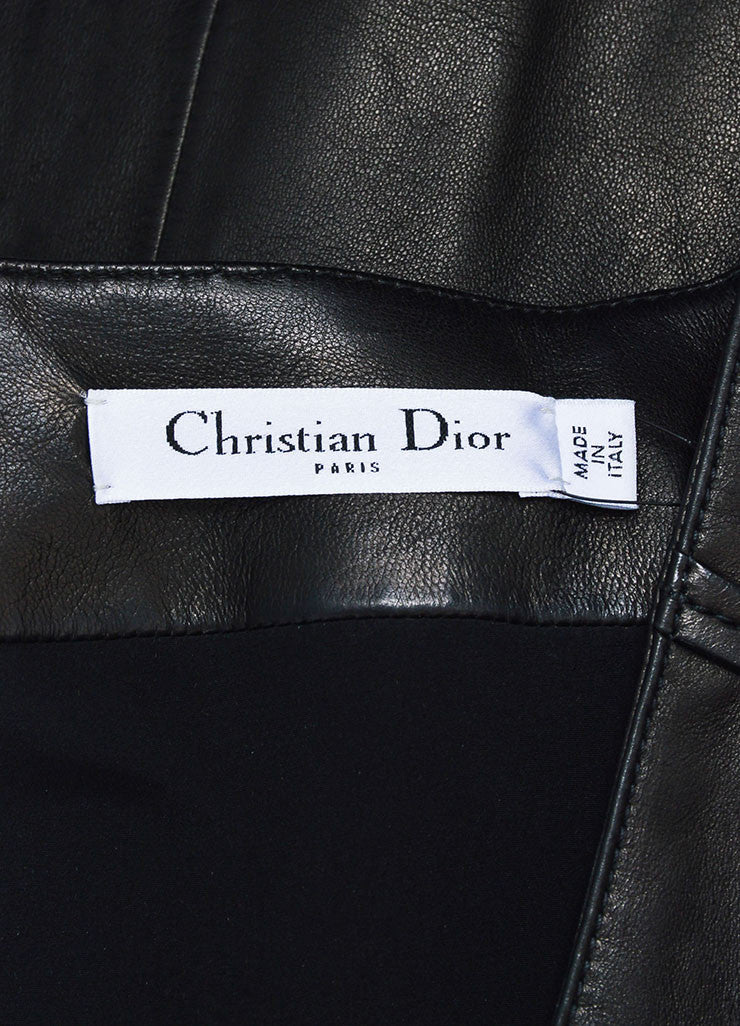 Christian Dior Black Leather Paneled Zip Up Short Sleeve Dress Brand