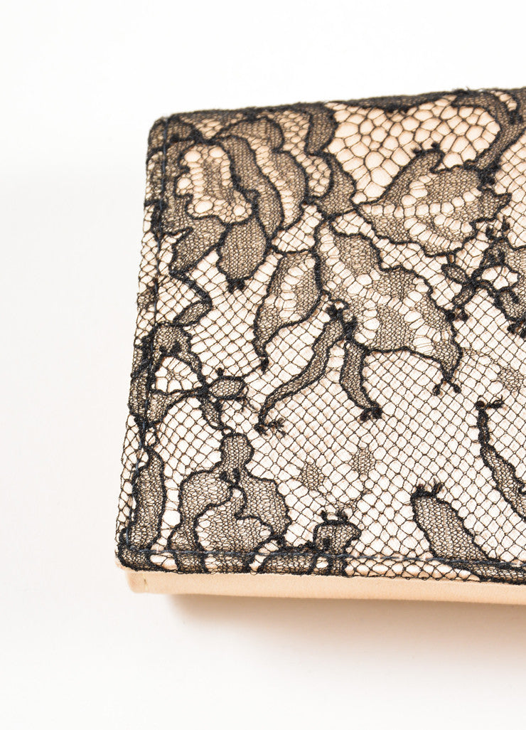 Christian Louboutin Champagne and Black Satin Floral Lace Evening Clutch Bag Detail 2