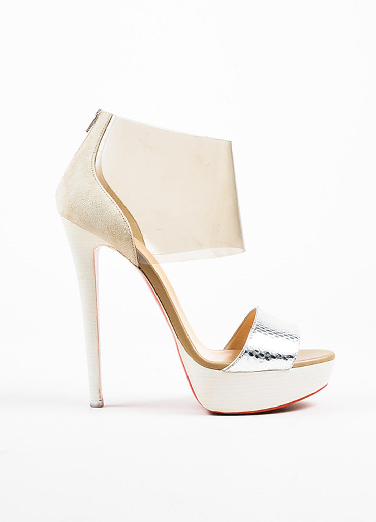 "Christian Louboutin Cream and Silver Suede and Python ""Dufoura 140"" Sandals Sideview"