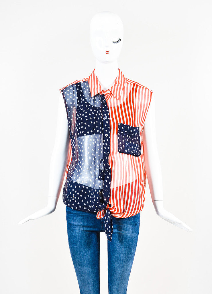 "Equipment Red, White, and Blue Silk Chiffon Flag ""Diem Tie Front"" Sleeveless Blouse Frontview"