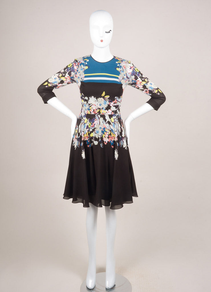 Erdem New With Tags Black and Multicolor Silk Floral Printed A-Line Dress Frontview