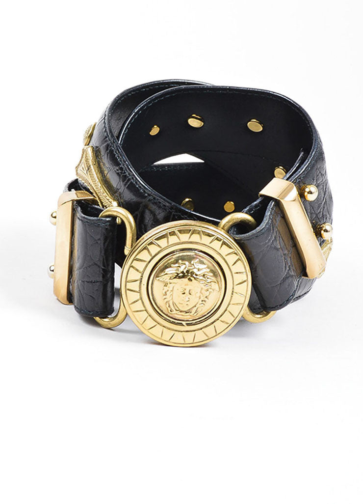 Black Gianni Versace Embossed Gold Toned Large Medallion Buckle Belt Frontview