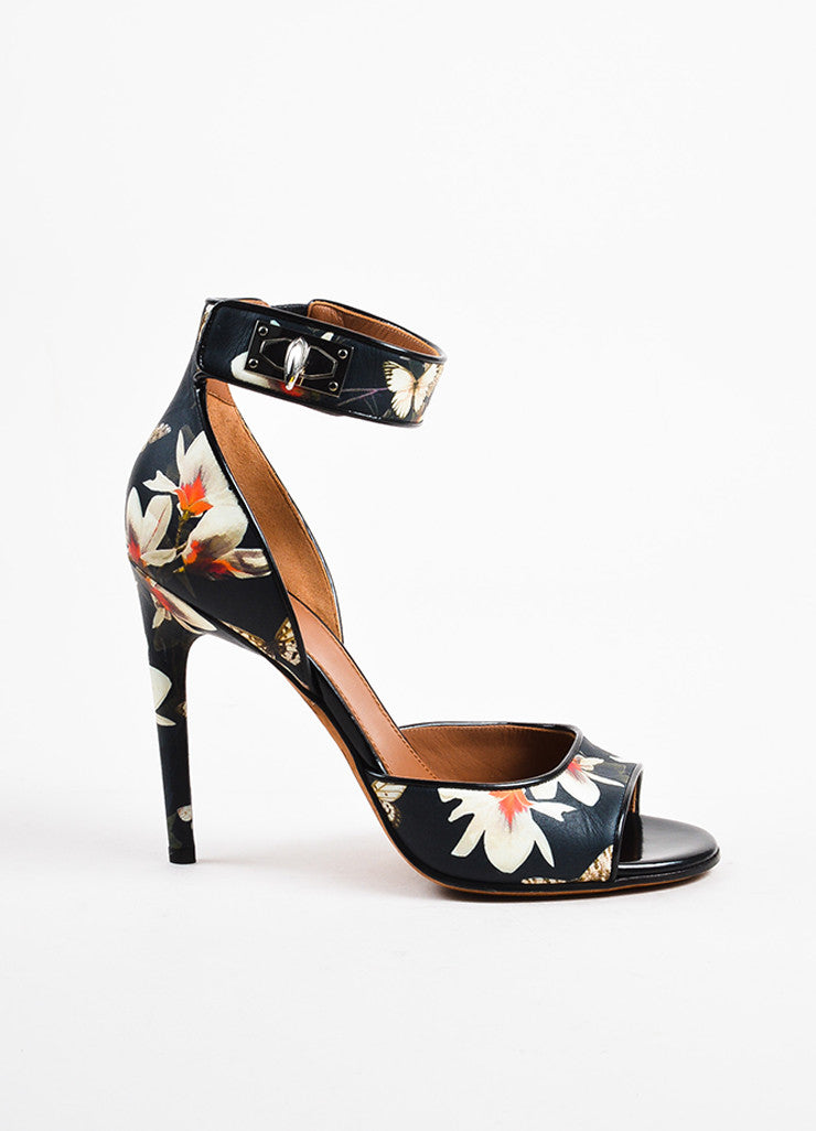 Givenchy Black and Cream Leather Floral Print Open Toe Sandals Sideview