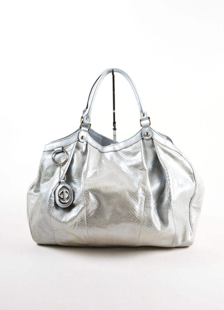 "Gucci Silver Metallic Leather Trim Python Skin Large ""Sukey"" Tote Bag Frontview"