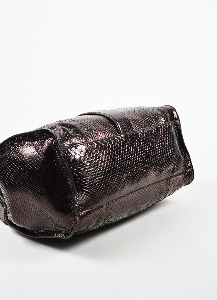 "Gucci Dark Purple Metallic Python Gold Toned ""Soft Stirrup"" Carryall Shoulder Bag Bottom View"