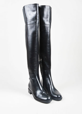 "Black Gucci Leather Elastic ""Maud"" Over the Knee Heeled Boots Frontview"