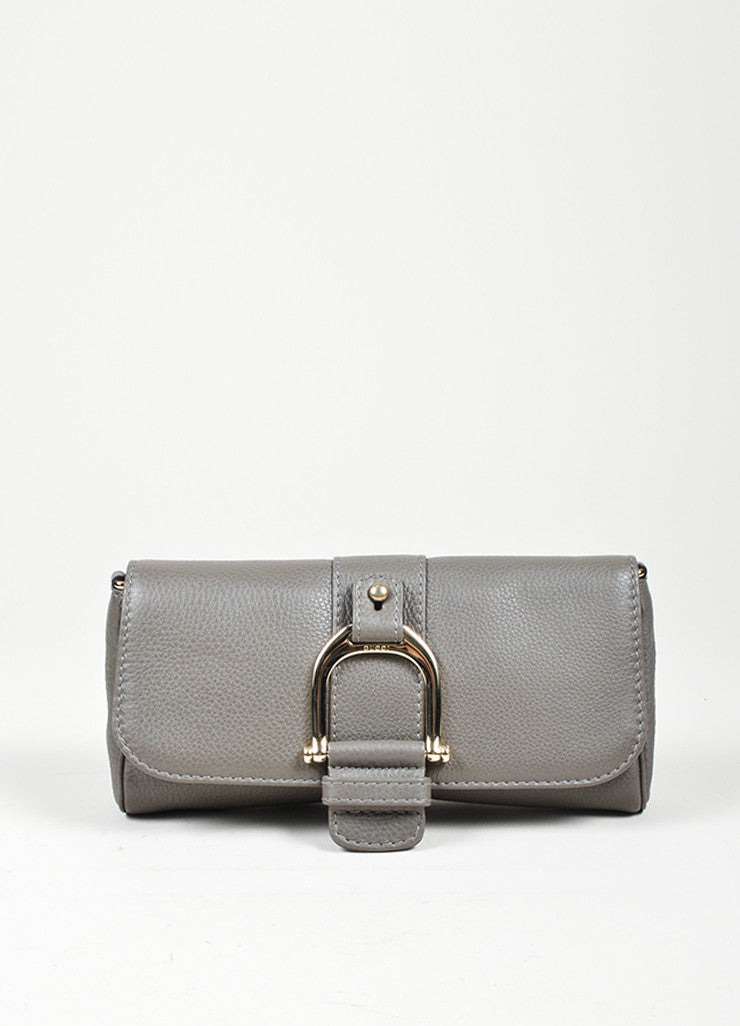 "Grey Gucci Pebbled Leather Chain ""Greenwich"" Evening Shoulder Bag Frontview"