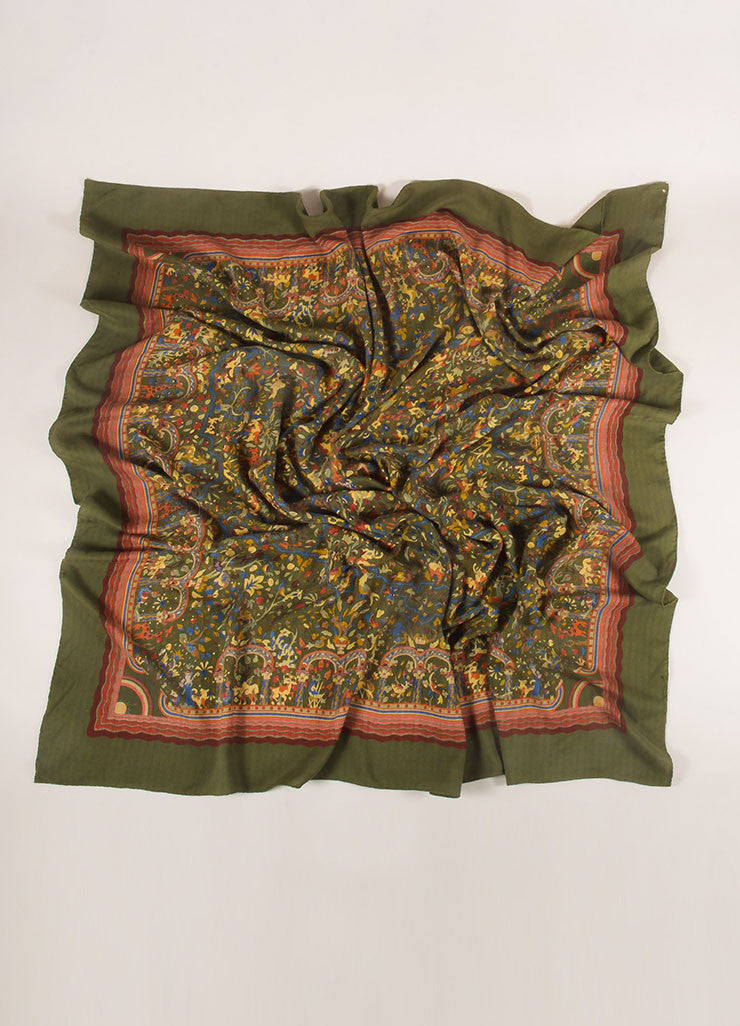 "Hermes Green and Multicolor Silk Twill ""Jardins d'Armenie"" Scarf Frontview"