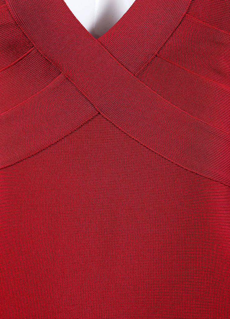 Herve Leroux New With Tags Red Sleeveless Bodycon Dress Detail