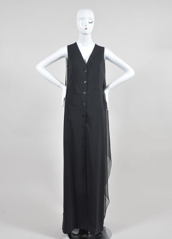 Black Jean Paul Gaultier Wool and Silk Chiffon Shirt Gown Frontview