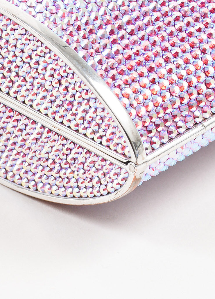 Judith Leiber Pink, Purple, and Silver Rhinestone Clutch Minaudiere Evening Bag Detail 2