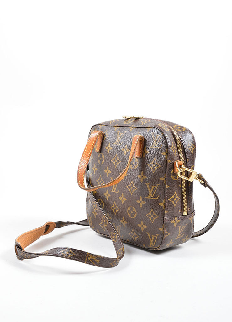 Louis Vuitton Brown Coated Canvas and Leather Trim Satchel Bag Sideview