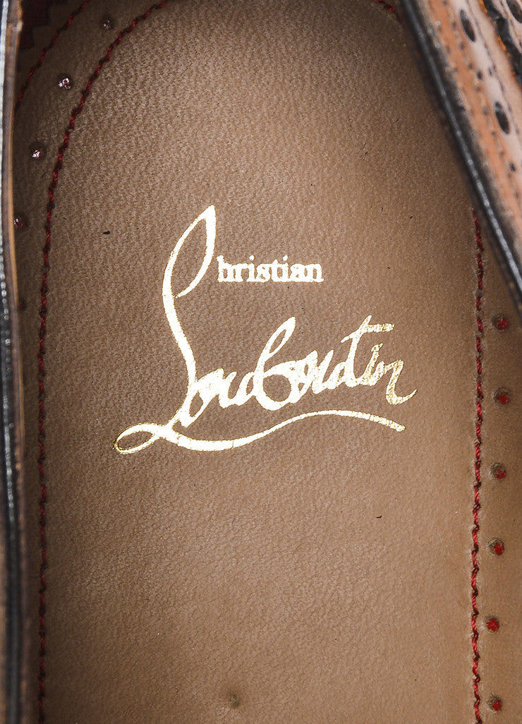 "Men's Christian Louboutin Cognac ""Platers Fiori"" Leather Oxford Shoes Brand"
