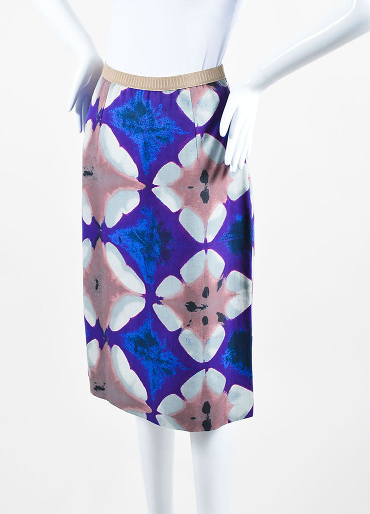 Purple, Blue, and Multicolor Marni Cotton Canvas Print Pencil Skirt Sideview