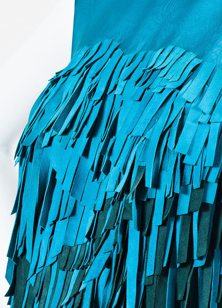 Teal and Green Mathieu Mirano Suede and Silk Sleeveless Fringe Tunic Dress Detail