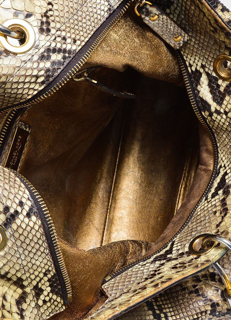 "Tan and Brown Michael Kors Python Leather Braided Handle ""Skorpios"" Tote Bag"