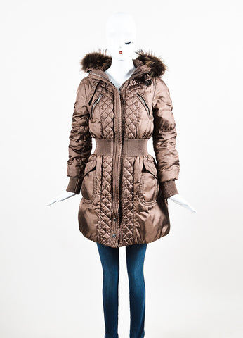 Moncler Bronze Quilted Cinched Waist Fur Trim Hood Bubble Coat Frontview 2
