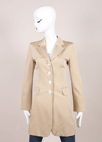 Moschino Tan Long Fitted Silk Blazer Frontview