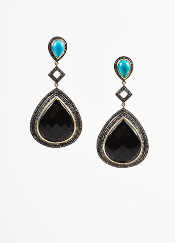 Sterling Silver 14k Gold Black Onyx Turquoise Diamond Drop Earrings Frontview