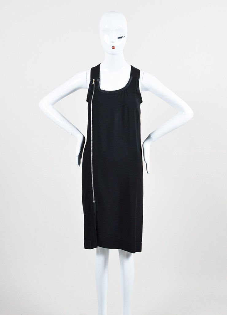 "í_í_Œ¢í_?çí_í_Rick Owens Black Chiffon Satin Trim Zipper Detail ""Vicious"" Sleeveless Dress Frontview"