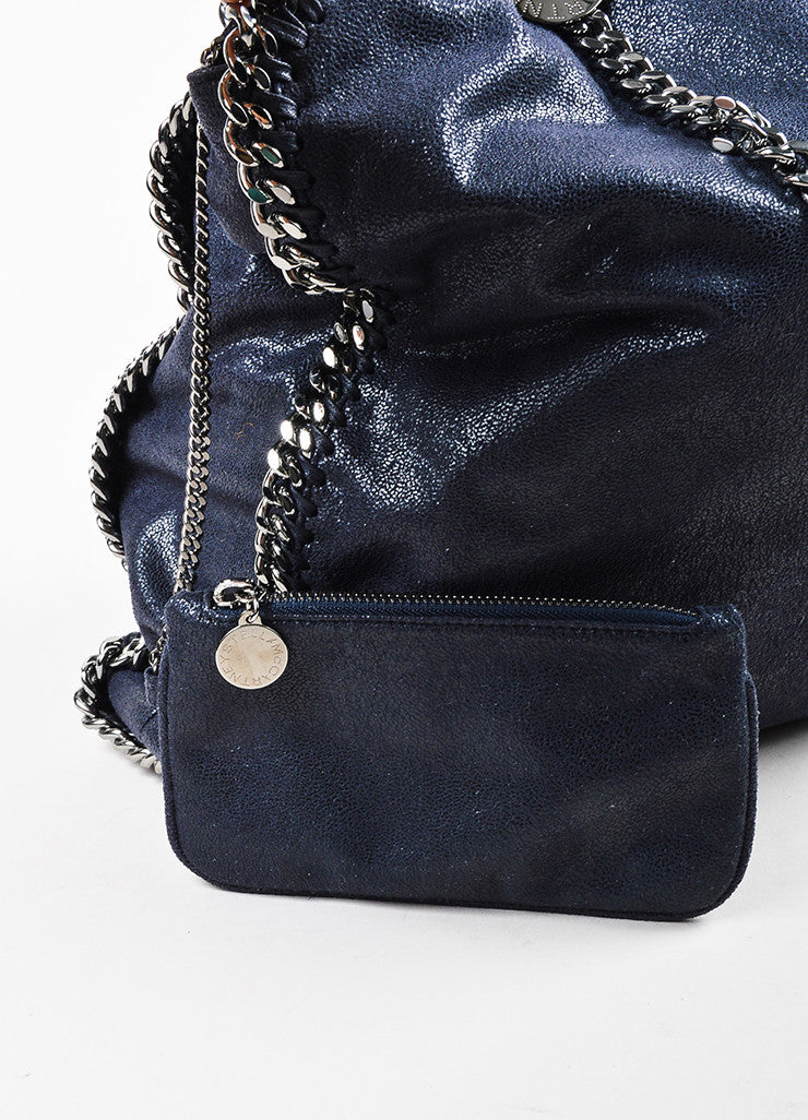 Stella McCartney Navy Blue Faux Deer Silver Toned Metal Chain Handle Shoulder Bag Detail 2
