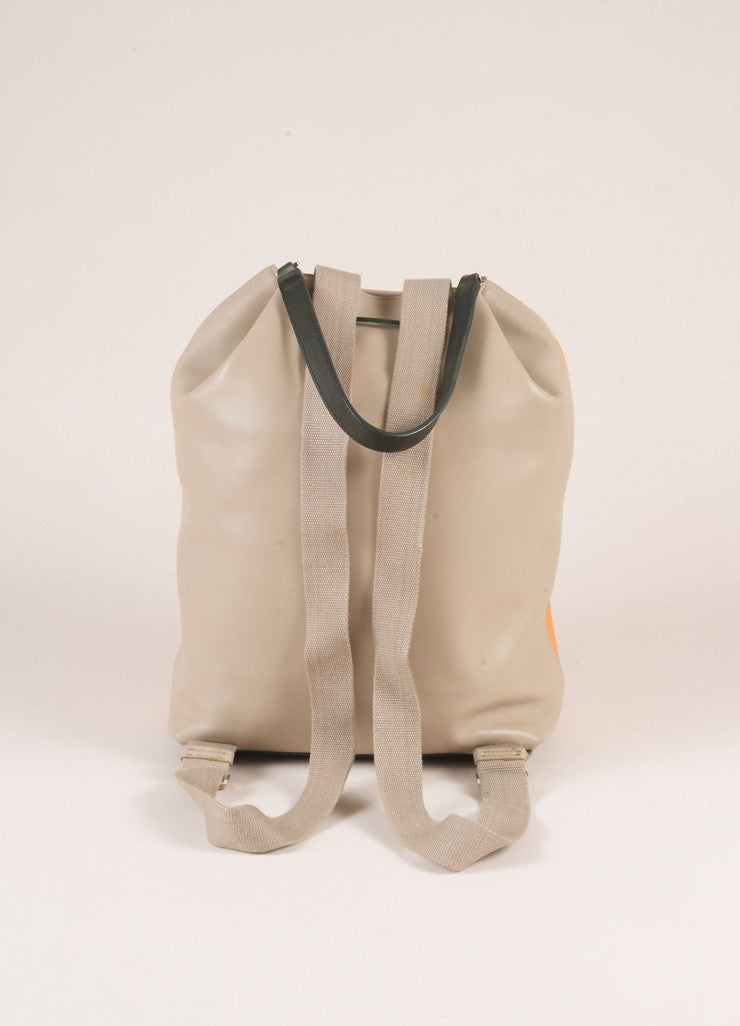 The Row Orange and Grey Cotton and Leather Drawstring Backpack Backview