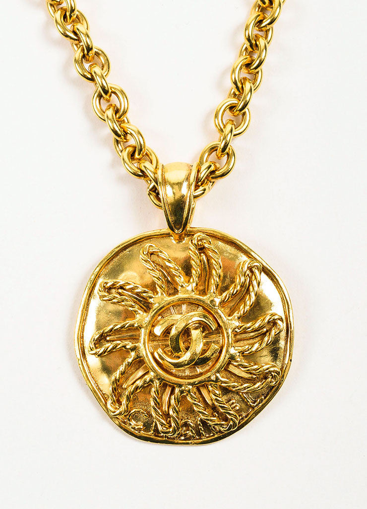 Gold Toned Chanel 'CC' Logo Sun Round Pendant Necklace Detail 2