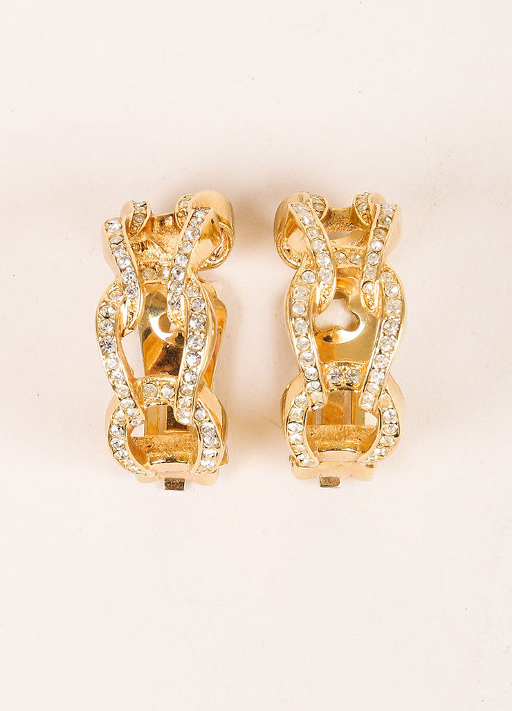 Christian Dior Gold Toned Rhinestone Open Link Hoop Earrings Frontview