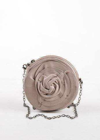 Valentino Grey Leather Rosette Chain Strap Mini Shoulder Bag Frontview