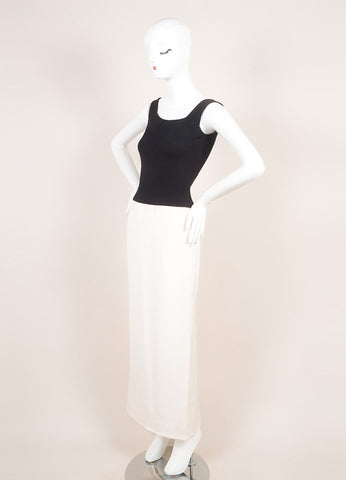 Vera Wang Black and White Silk Sleeveless Full Length Gown Dress Sideview